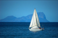 Sail boat in False bay